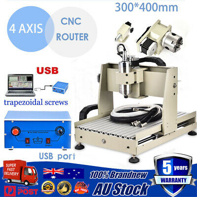 CNC Router Engraving Mill Machine Wooden Metal Engraver Carving 4 Axis 3040 400W