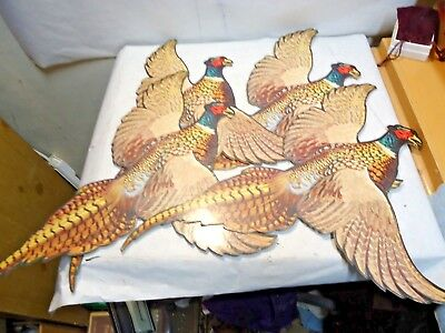 """4 vintage Die Cut Pheasants that are about 17.5""""x 13"""" - in good shape - NR"""