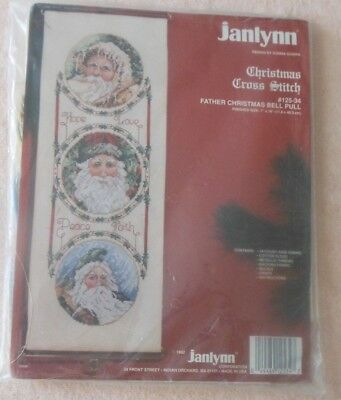 JANLYNN VINTAGE CHRISTMAS Counted Cross Stitch Kit FATHER CHRISTMAS BELL PULL