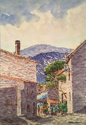 Vintage LISTED W. Harold Hancock TOSSA DE MAR SPAIN Acrylic Painting CATALONIA