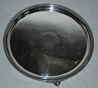 Antique Sterling Silver Engraved Footed Tray Salver by John C Moore 1845-1851