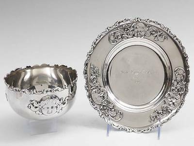 XL Sterling Silver Art Nouveau Child Youth Nursery Bowl & Plate Gorham Whiting