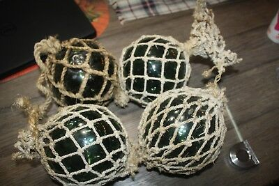 (4) x Vintage Antique Large Roped Green Japanese Glass Fishing Buoy, Ball Floats