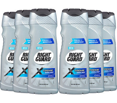 6 Pack Right Guard Hair and Body Wash Extreme Cooling For Men, Chill, 16 Ounce