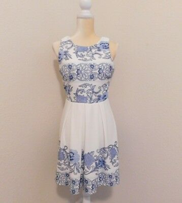 3ed86f1fe New Junior Jodi Kristopher Size 7 A-line blue and white floral casual dress.