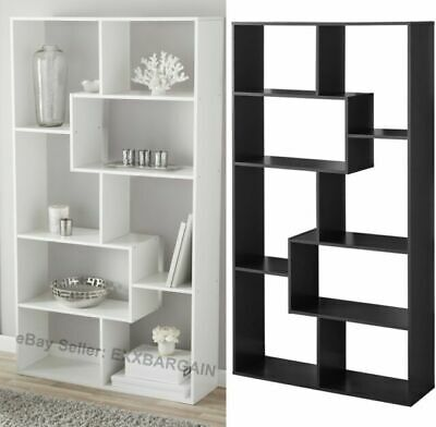 Tall Bookcase Cubby large Open Bookshelf Modern Cube 8 Shelf Display Brown NEW