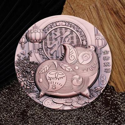 2019 China Lunar Zodiac Year of the Pig High-relief Large Copper Coin Medal 90mm