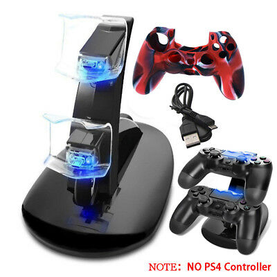 LED Indicator Double Set USB Charging Dock Stand Charger for PS4 Controller