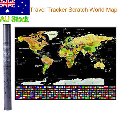 Travel Tracker Big Scratch Off World Map Poster with Australia  Flags AU Seller