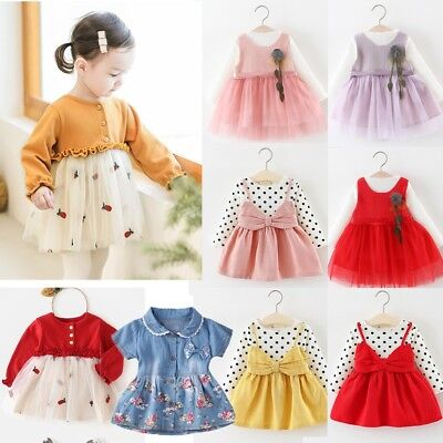 Lovely Toddler Kids Baby Girls Dress Long Sleeve Tops Princess Tutu Party Dress