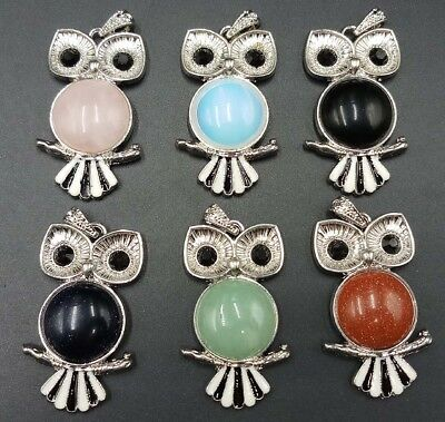 Lovely 27x48mm Natural Mixed Gemstone Stone Silver Plated Owl Pendant