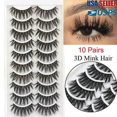 10Pairs Handmade 3D Mink Hair False Eyelashes Long Wispy Crisscross Eye Lashes.