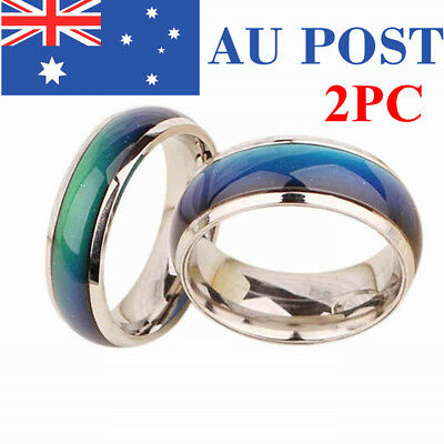 2PCS Mood Couple Ring Temperature Changing Colour Band Wrap Silver Plated Gift