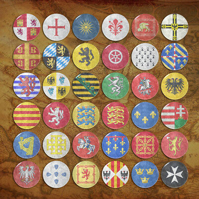 Middle Ages Coat of Arms Pinbacks Flag Badges Ancient Emblem Button Tin 58mm