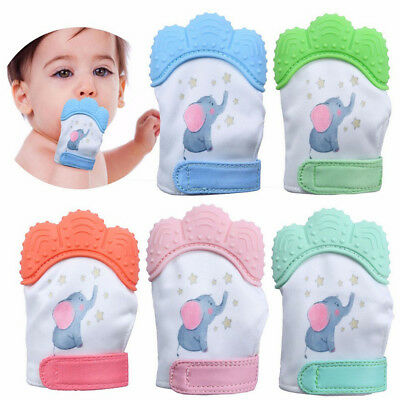 New Design Elephant Baby Silicone Mitts Teething Mitten Molar Gloves Wrapper