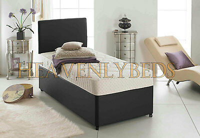 3Ft Single Faux Leather Divan Bed, Quilted Mattress + Storage Adult And Kids