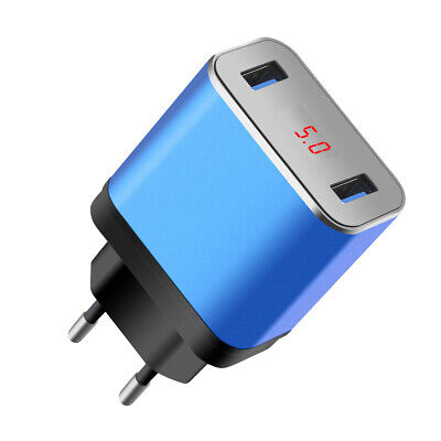 Dual 2 Port USB 5V 2.4A LED Home Travel Fast Charging Phone Wall Charger Adapter