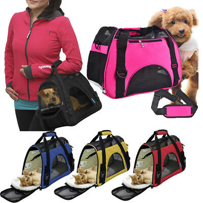 AU Pet Carrier Soft Sided Large Cat Dog Comfort Tote Travel Bag Airline Approved