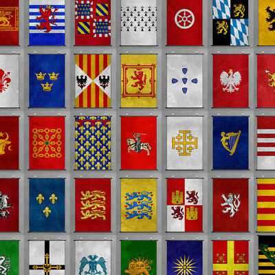 Middle Ages Coat of Arms Scroll Poster Ancient Emblems Banners Prints Wall Art