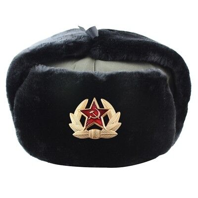 Soviet Badge Ushanka Russian fur Hat USSR Army Soldier Winter Ear Protect Caps