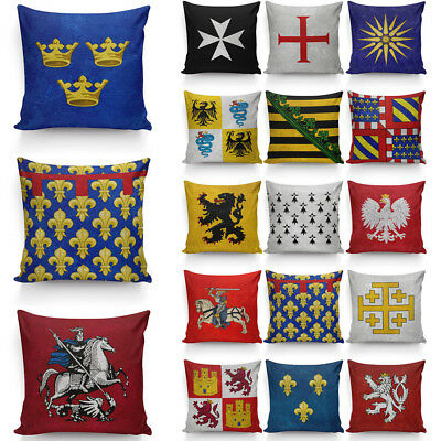 Middle Ages Coat of Arms Pillow Cover Cases Ancient Flag Pillow Protector Fun