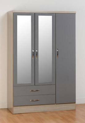 Nevada 3 Door 2 Drawer Wardrobe In Grey Gloss-Free Delivery