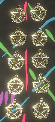 10 Large Antique Silver Tone Pentacle Pendants Metaphysical Witchcraft Theme