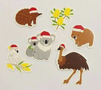 Australian Christmas Die Cuts 6pc Set 1 Emu Koala Wombat Aussie Seller
