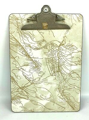 VTG 1950s 60s Formica Clipboard National Mid Century Office Gold Marble Masonite