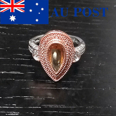 Rings Sliver Plated Pink Pear Shaped Vintage Antique Women Engagement Fashion