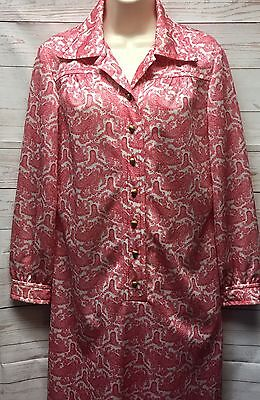 Vtg 60's Women's 16 David Crystal (Lacoste) Red Paisley Shirt Dress *Un-Hemmed*