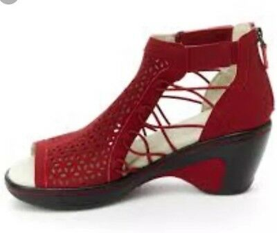 New JBU By Jambu Women's Nelly Wedge Sandal Red 7.5