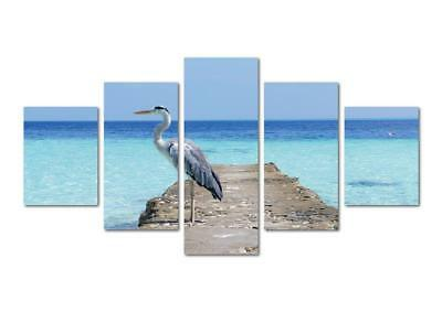 4 Pieces Canvas Printing Home Decor Wall Pictures the White Crane Stand On Dock