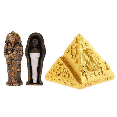 Ancient Egyptian Pyramid Coffin w/ Mummy Figurine Statue for Home Decor Arts