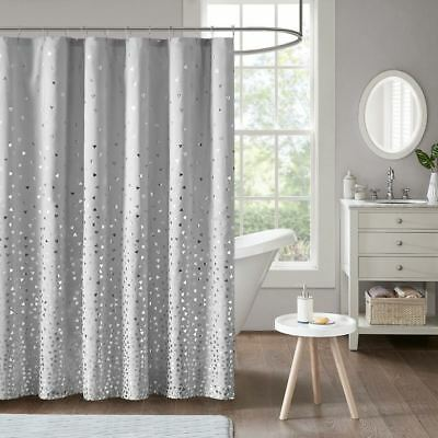Grey Metallic Silver Printed Fabric Shower Curtain