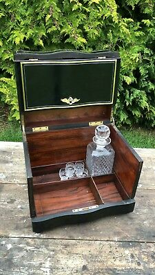 Beautiful Vintage Wooden Wine Decanter & Glasses Display Box Cabinate With Key*
