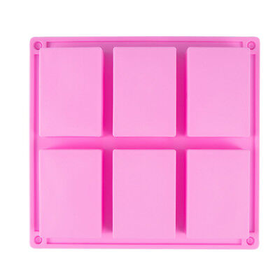 6 Cavities Ice Cube Tray Cookies Mould Silicone Soap Mold Cake Baking Pan