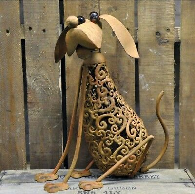 Garden Dog Ornament Rustic Rusty Metal Vintage Industrial Style Quirky 16""