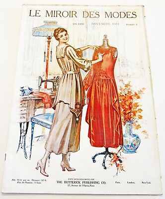 Vtg Fashion Sewing Magazine Miroir des Modes French Delineator Butterick 1917
