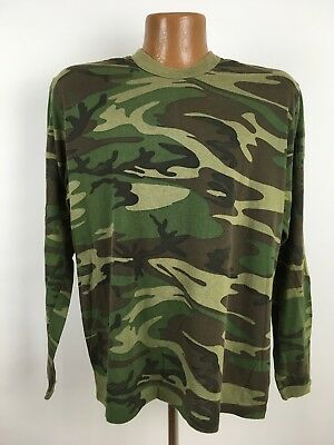 Vintage Long Sleeve Woodland Camo T-Shirt Adult Large Lightweight Thin Stretchy