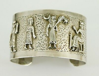 "Vintage / Antique Egyptian Revival Cuff Bracelet ""Heavy"""