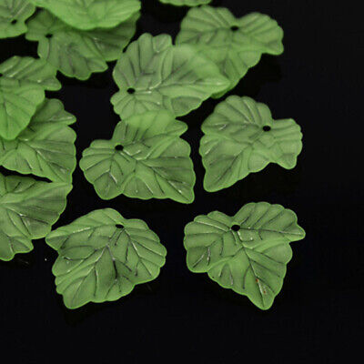 100pcs Transparent Lime Green Acrylic Leaf 24mm Frosted Leaves Charm Pendants