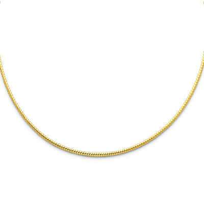 "Real 14k Yellow White Gold 1MM 1.5MM 2MM Sparkle Omega Necklace Chain 17"" Women"