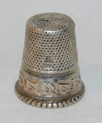 Beautiful old Sterling Silver 925 Size 8 German Sewing Thimble
