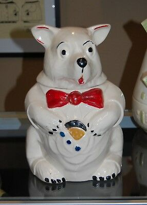 "Mccoy 1940's ""bear With Cookie"" Jar - Red Bow Tie - Adorable Vintage Cookie Jar"