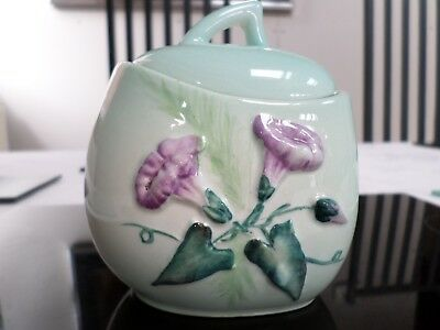Carlton ware Jam preserve serving pot Morning glory hand painted & signed