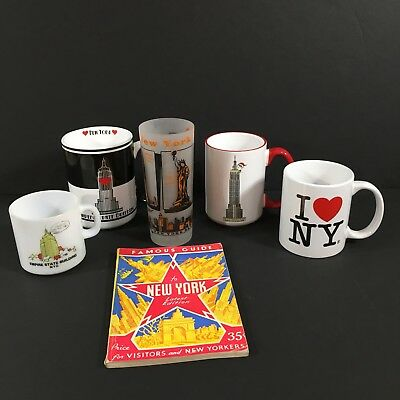 Lot of 4 New York NYC Souvenir Mugs Glass Tumbler Vintage 1945 Tourist Guide