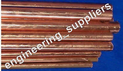 "Copper CW004A Round Rod Bar Diameters 1/8"" to 1/2"" Various Lengths 100 to 600mm"