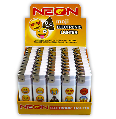 50 Moji Full Size NEON Electronic Disposable Cigarette Lighters, Neon Butane 5X