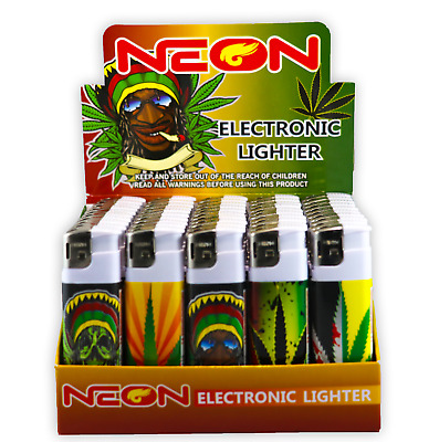 50 Rasta Full Size NEON Electronic Disposable Cigarette Lighters, Neon Butane 5X